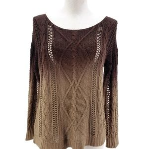 Spense Knits Ombre Cable Sweater Women Sz M Brown